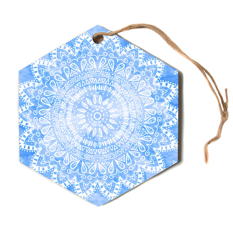 "Nika Martinez ""BOHO FLOWER MANDALA IN BLUE"" Aqua Hexagon Holiday Ornament"