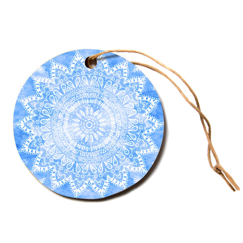 "Nika Martinez ""BOHO FLOWER MANDALA IN BLUE"" Aqua Circle Holiday Ornament"