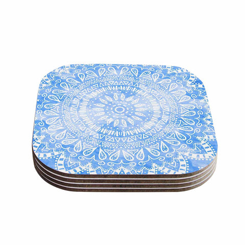 "Nika Martinez ""Boho Flower Mandala in Blue"" Aqua Coasters (Set of 4)"