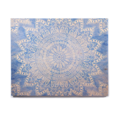 "Nika Martinez ""Boho Flower Mandala in Blue"" Aqua Birchwood Wall Art - KESS InHouse  - 1"
