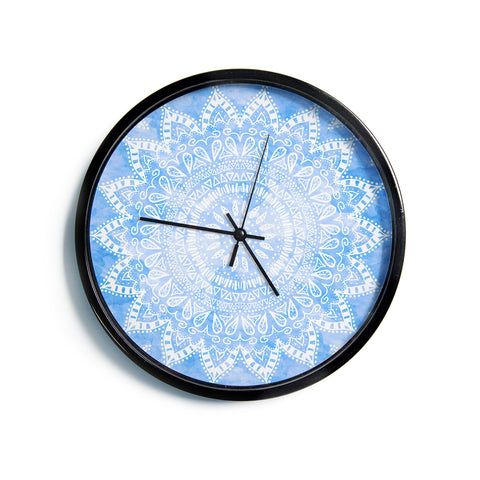 "Nika Martinez ""Boho Flower Mandala in Blue"" Aqua Modern Wall Clock"