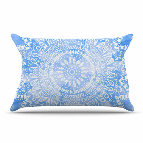 "Nika Martinez ""Boho Flower Mandala in Blue"" Aqua Pillow Sham - KESS InHouse"