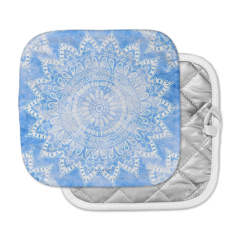 "Nika Martinez ""Boho Flower Mandala in Blue"" Aqua Pot Holder"