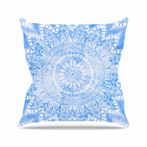 "Nika Martinez ""Boho Flower Mandala in Blue"" Aqua Outdoor Throw Pillow - KESS InHouse  - 1"