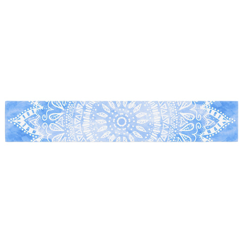 "Nika Martinez ""Boho Flower Mandala in Blue"" Aqua Table Runner - KESS InHouse  - 1"