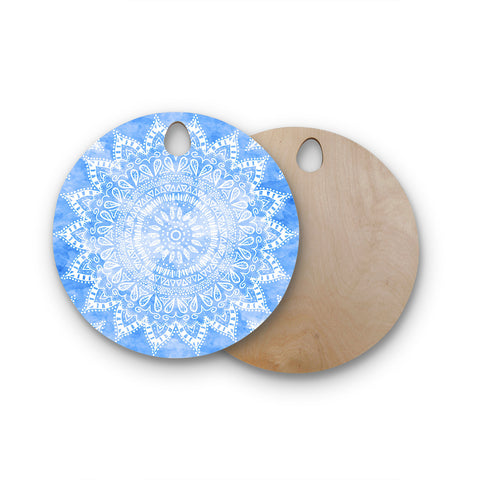 "Nika Martinez ""Boho Flower Mandala in Blue"" Aqua Round Wooden Cutting Board"