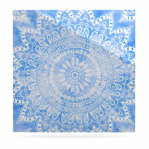 "Nika Martinez ""Boho Flower Mandala in Blue"" Aqua Luxe Square Panel - KESS InHouse  - 1"