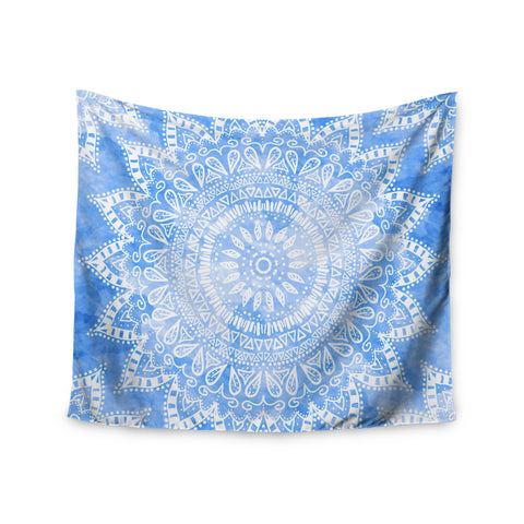 "Nika Martinez ""Boho Flower Mandala in Blue"" Aqua Wall Tapestry - KESS InHouse  - 1"