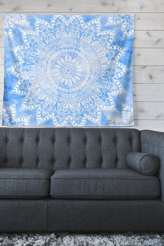 "Nika Martinez ""Boho Flower Mandala in Blue"" Aqua Wall Tapestry - Outlet Item"