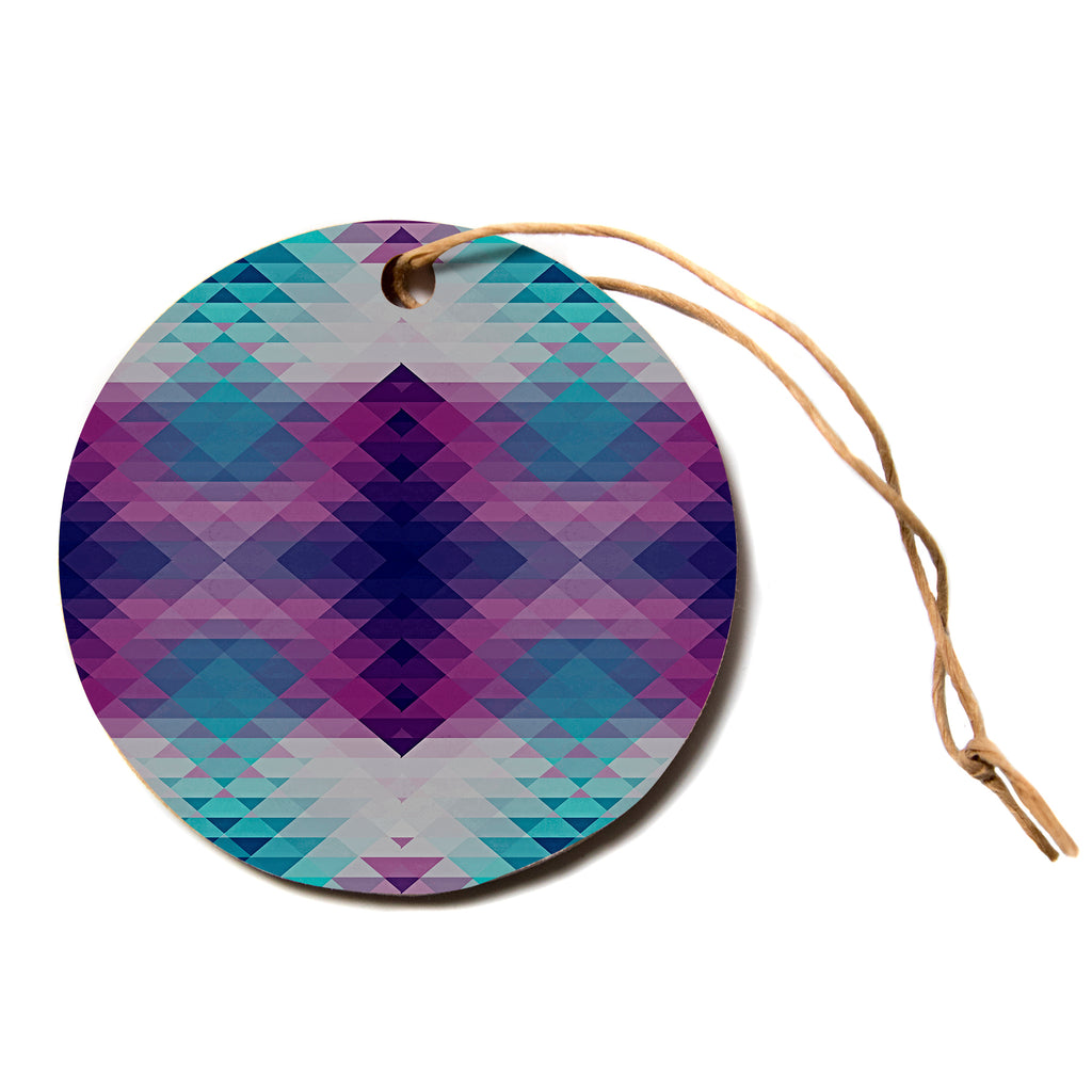 "Nika Martinez ""HIPSTERLAND II"" Purple Teal Circle Holiday Ornament"