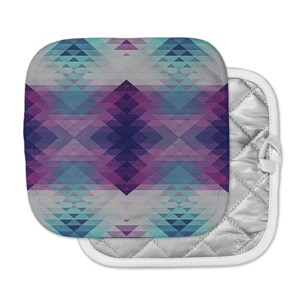 "Nika Martinez ""Hipsterland II"" Purple Teal Pot Holder"