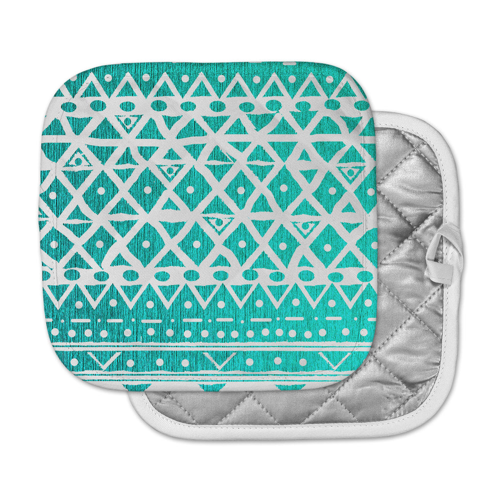"Nika Martinez ""Aquamarine Tribal"" Teal Blue Pot Holder"