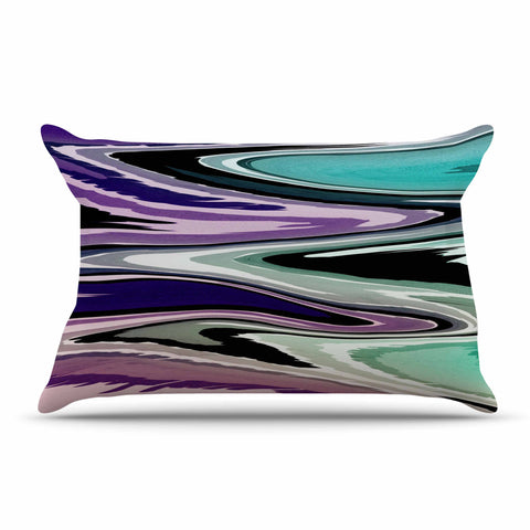 "Nika Martinez ""Colorful Beach Waves"" Abstract Purple Pillow Sham - KESS InHouse  - 1"