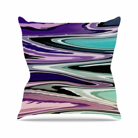 "Nika Martinez ""Colorful Beach Waves"" Abstract Purple Outdoor Throw Pillow - KESS InHouse  - 1"