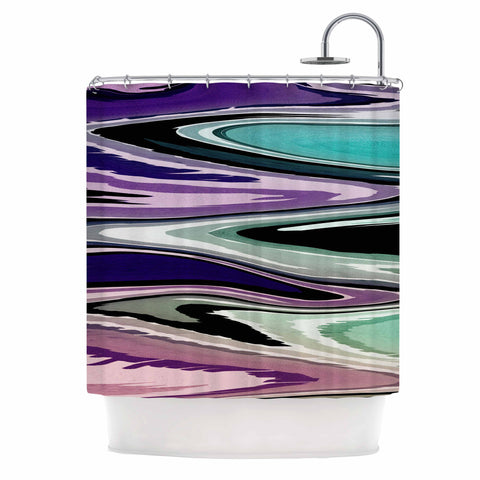 "Nika Martinez ""Colorful Beach Waves"" Abstract Purple Shower Curtain - KESS InHouse"