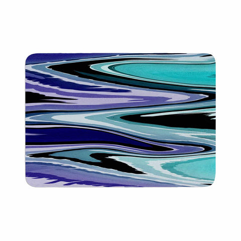 "Nika Martinez ""Beach Waves"" Teal Abstract Memory Foam Bath Mat - KESS InHouse"