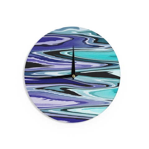"Nika Martinez ""Beach Waves"" Teal Abstract Wall Clock - KESS InHouse"