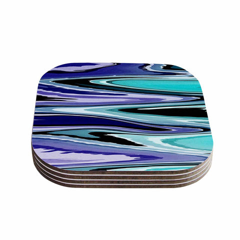 "Nika Martinez ""Beach Waves"" Teal Abstract Coasters (Set of 4)"