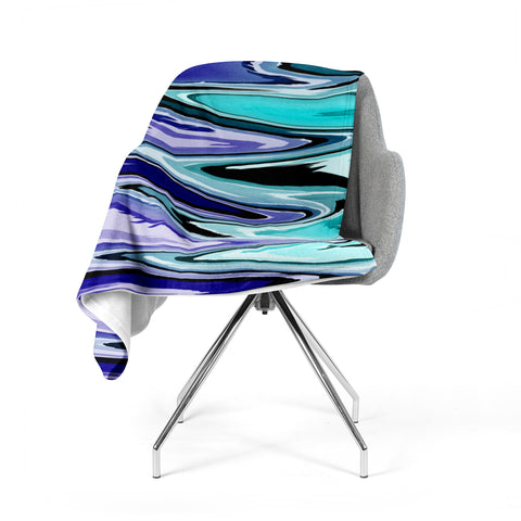 "Nika Martinez ""Beach Waves"" Teal Abstract Fleece Throw Blanket"