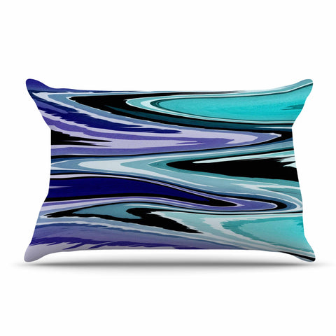 "Nika Martinez ""Beach Waves"" Teal Abstract Pillow Sham - KESS InHouse  - 1"