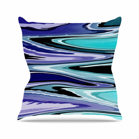 "Nika Martinez ""Beach Waves"" Teal Abstract Outdoor Throw Pillow - KESS InHouse  - 1"