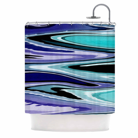 "Nika Martinez ""Beach Waves"" Teal Abstract Shower Curtain - KESS InHouse"