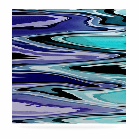 "Nika Martinez ""Beach Waves"" Teal Abstract Luxe Square Panel - KESS InHouse  - 1"