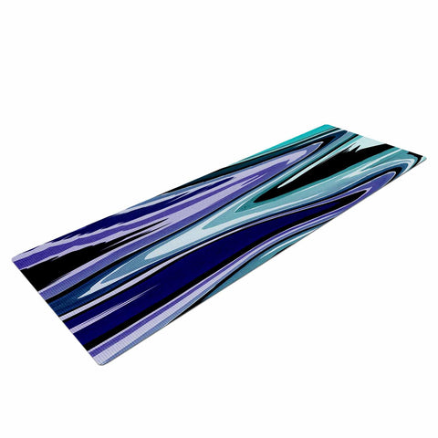 "Nika Martinez ""Beach Waves"" Teal Abstract Yoga Mat - KESS InHouse  - 1"