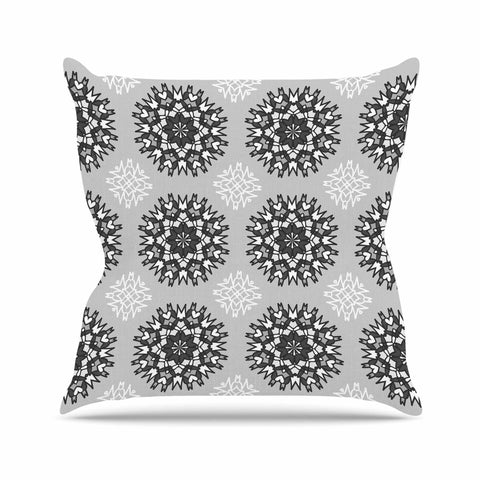 "Nika Martinez ""Princess BW"" Gray Vector Outdoor Throw Pillow - KESS InHouse  - 1"