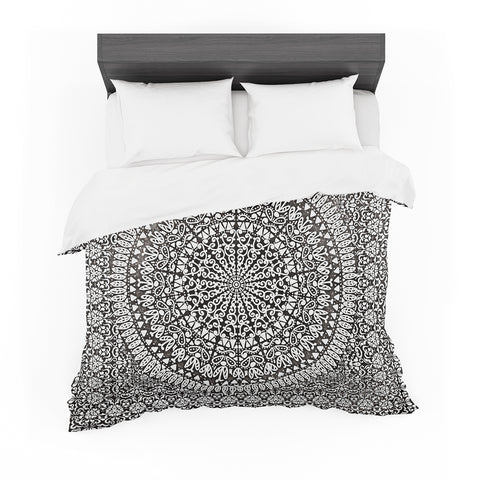 "Nika Martinez ""Mandala Bandana"" Black Abstract Featherweight Duvet Cover"