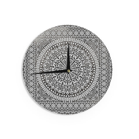 "Nika Martinez ""Mandala Bandana"" Black Abstract Wall Clock - KESS InHouse"