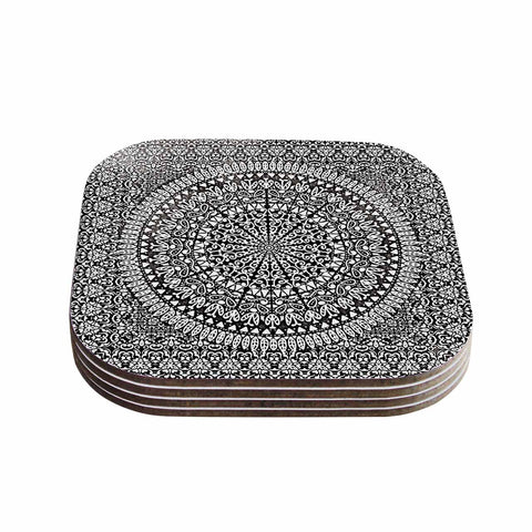 "Nika Martinez ""Mandala Bandana"" Black Abstract Coasters (Set of 4)"