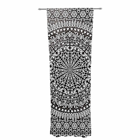 "Nika Martinez ""Mandala Bandana"" Black Abstract Decorative Sheer Curtain - KESS InHouse  - 1"