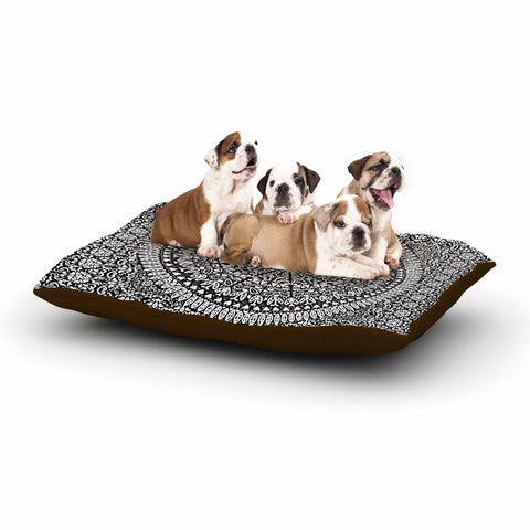 "Nika Martinez ""Mandala Bandana"" Black Abstract Dog Bed - KESS InHouse  - 1"