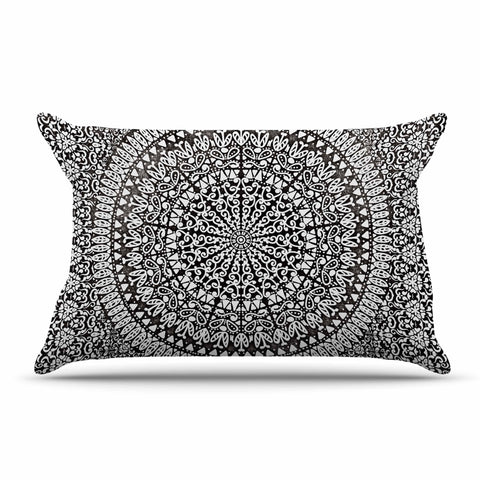 "Nika Martinez ""Mandala Bandana"" Black Abstract Pillow Sham - KESS InHouse  - 1"