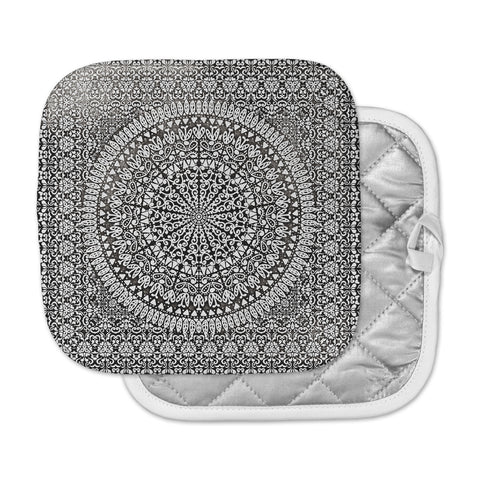 "Nika Martinez ""Mandala Bandana"" Black Abstract Pot Holder"