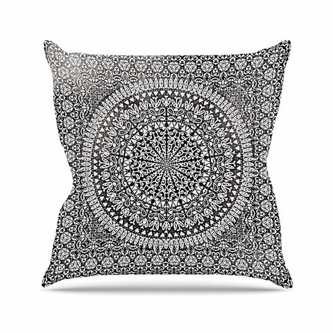 "Nika Martinez ""Mandala Bandana"" Black Abstract Outdoor Throw Pillow - KESS InHouse  - 1"