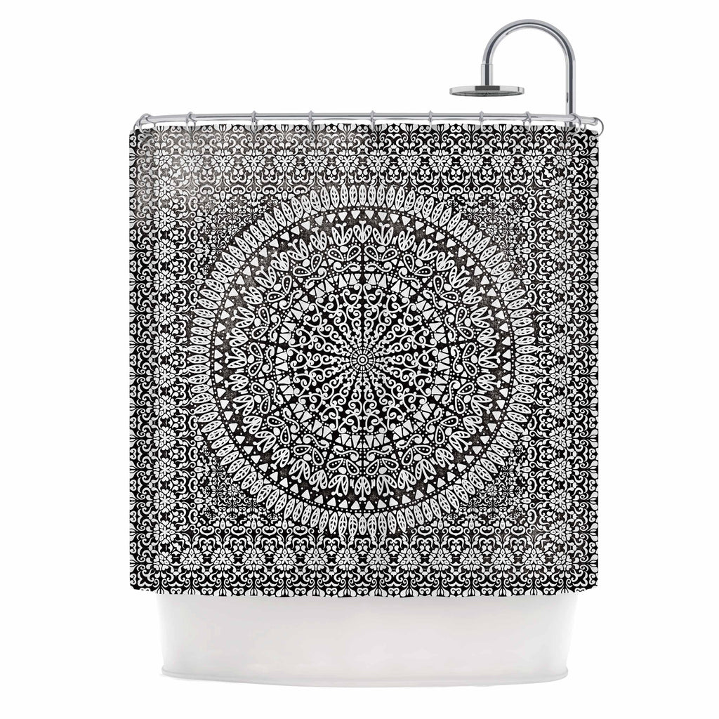 "Nika Martinez ""Mandala Bandana"" Black Abstract Shower Curtain - KESS InHouse"
