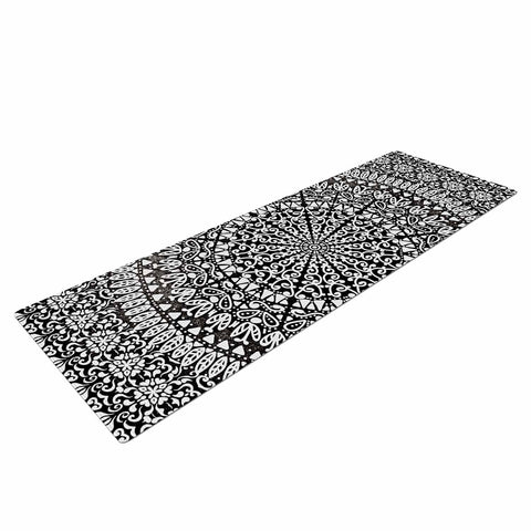 "Nika Martinez ""Mandala Bandana"" Black Abstract Yoga Mat - KESS InHouse  - 1"