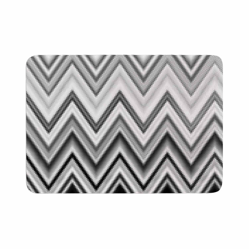 "Nika Martinez ""Seventies Chevron In BW"" Black Pattern Memory Foam Bath Mat - KESS InHouse"