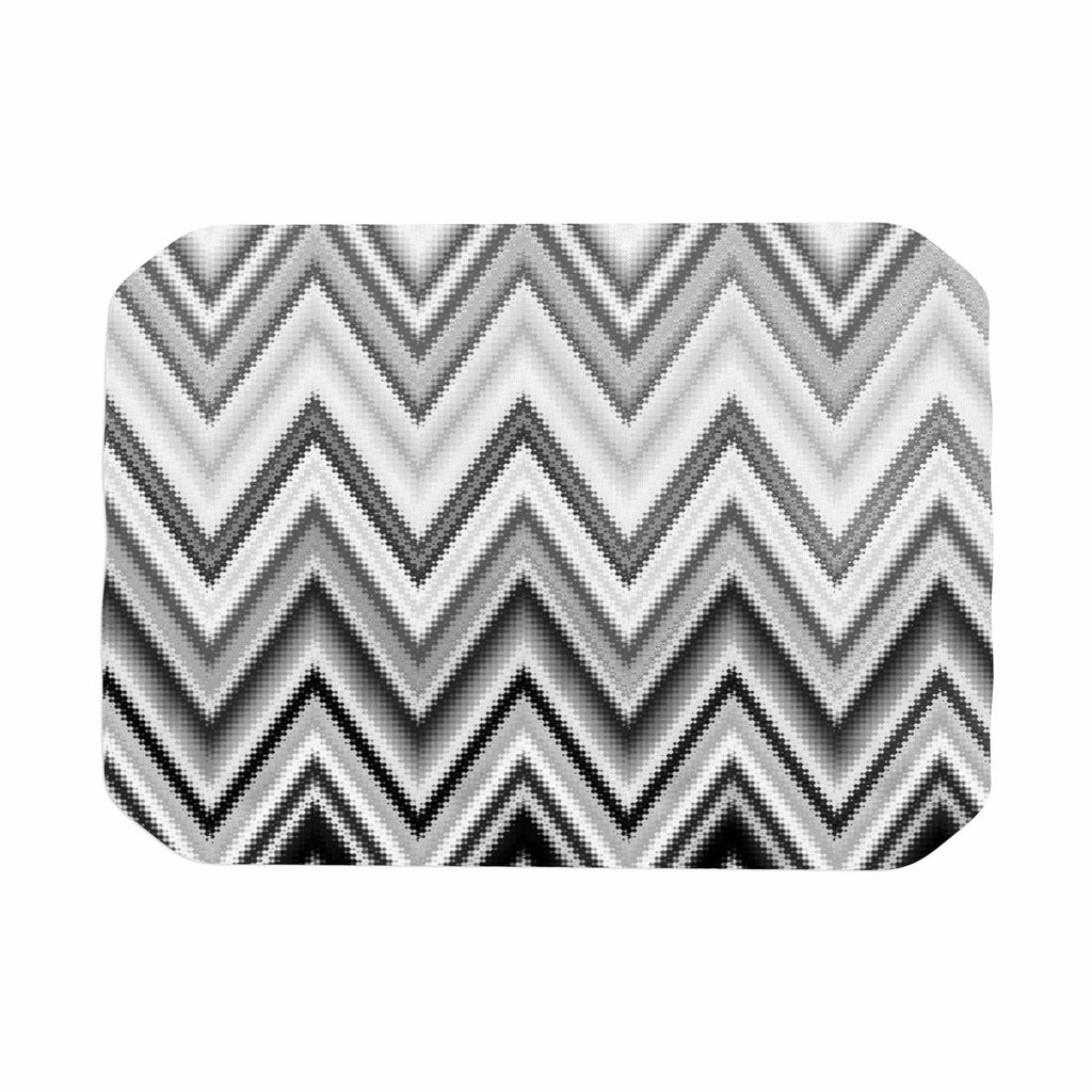"Nika Martinez ""Seventies Chevron In BW"" Black Pattern Place Mat - KESS InHouse"