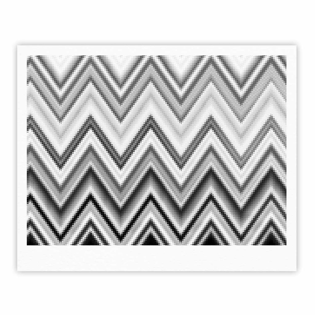 "Nika Martinez ""Seventies Chevron In BW"" Black Pattern Fine Art Gallery Print - KESS InHouse"