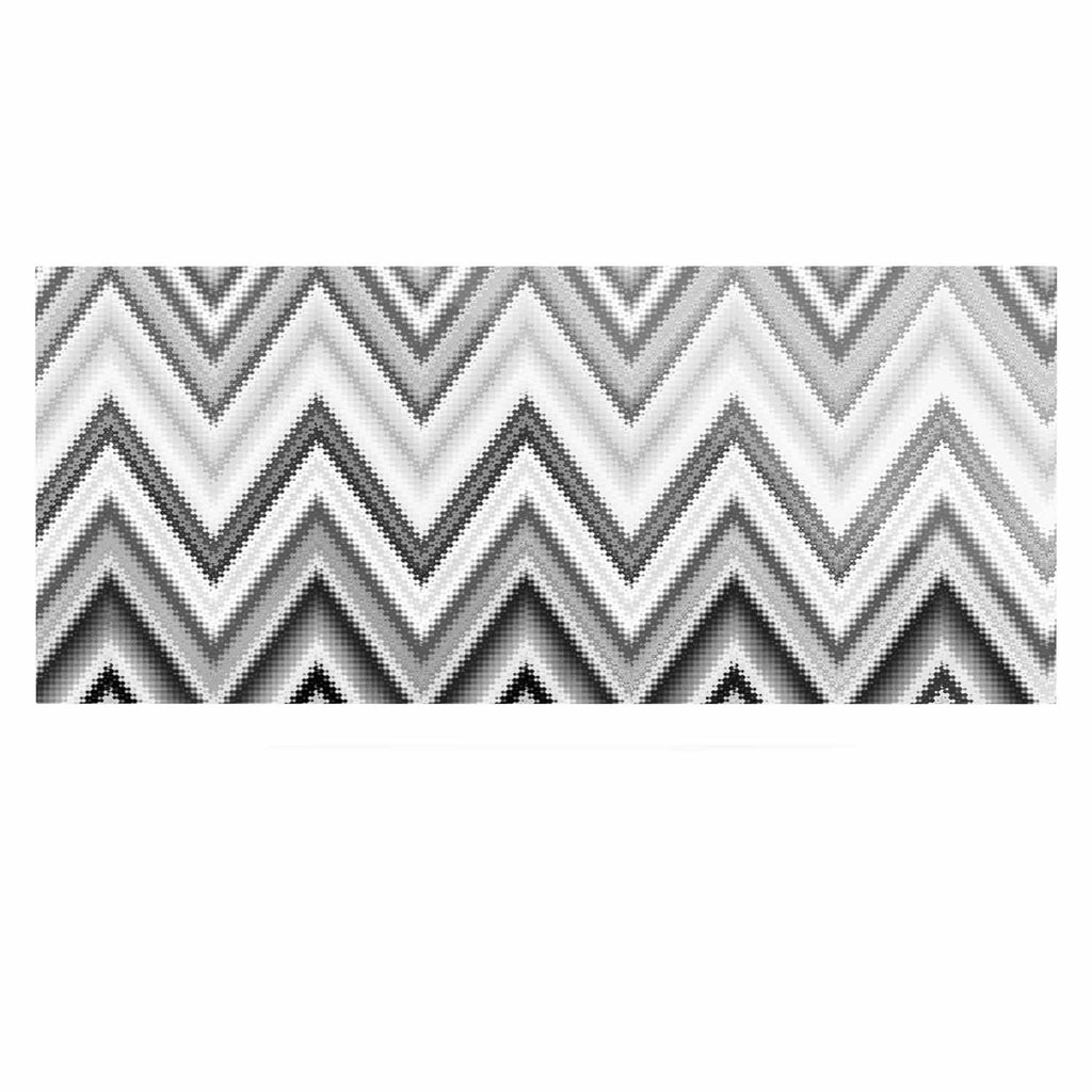 "Nika Martinez ""Seventies Chevron In BW"" Black Pattern Luxe Rectangle Panel - KESS InHouse  - 1"