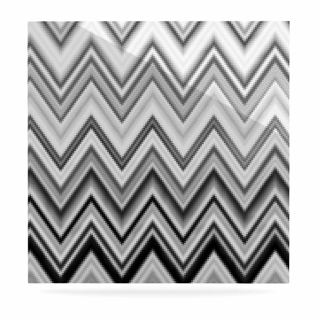 "Nika Martinez ""Seventies Chevron In BW"" Black Pattern Luxe Square Panel - KESS InHouse  - 1"
