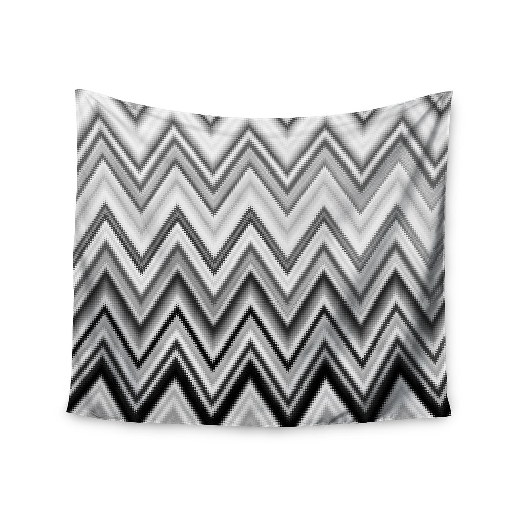 "Nika Martinez ""Seventies Chevron In BW"" Black Pattern Wall Tapestry - KESS InHouse  - 1"