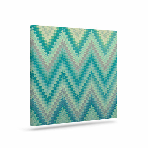 "Nika Martinez ""Seventies Emerald Chevron"" Green Abstract Canvas Art - KESS InHouse  - 1"
