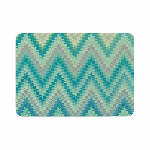 "Nika Martinez ""Seventies Emerald Chevron"" Green Abstract Memory Foam Bath Mat - KESS InHouse"