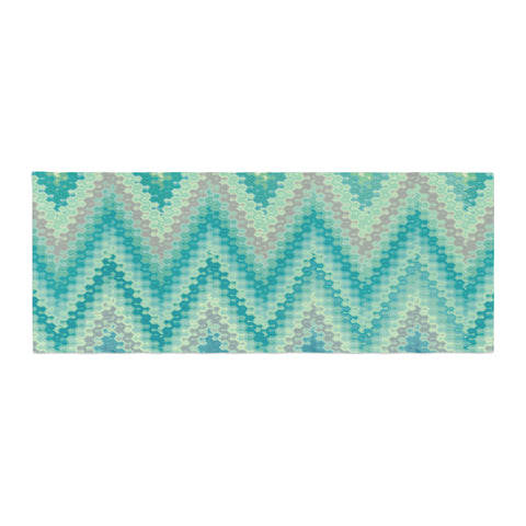"Nika Martinez ""Seventies Emerald Chevron"" Green Abstract Bed Runner - KESS InHouse"