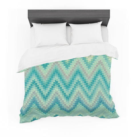 "Nika Martinez ""Seventies Emerald Chevron"" Green Abstract Featherweight Duvet Cover"