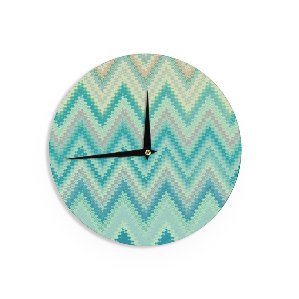 "Nika Martinez ""Seventies Emerald Chevron"" Green Abstract Wall Clock - KESS InHouse"